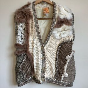 Vintage | Rabbit Fur Hand Sewn Crocheted Vest